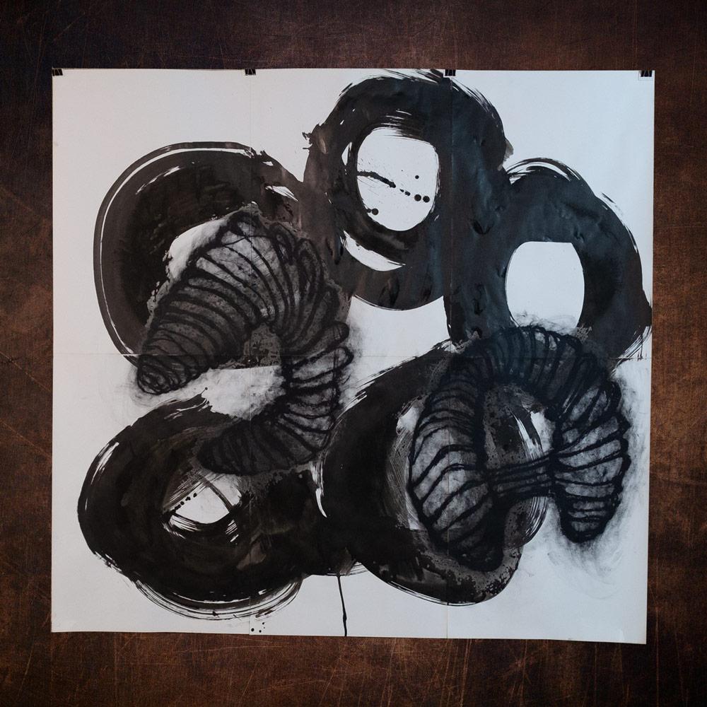 OHRWUERMER_Chintusche _oelkreide auf Papier_180 x 200 cm_2019
